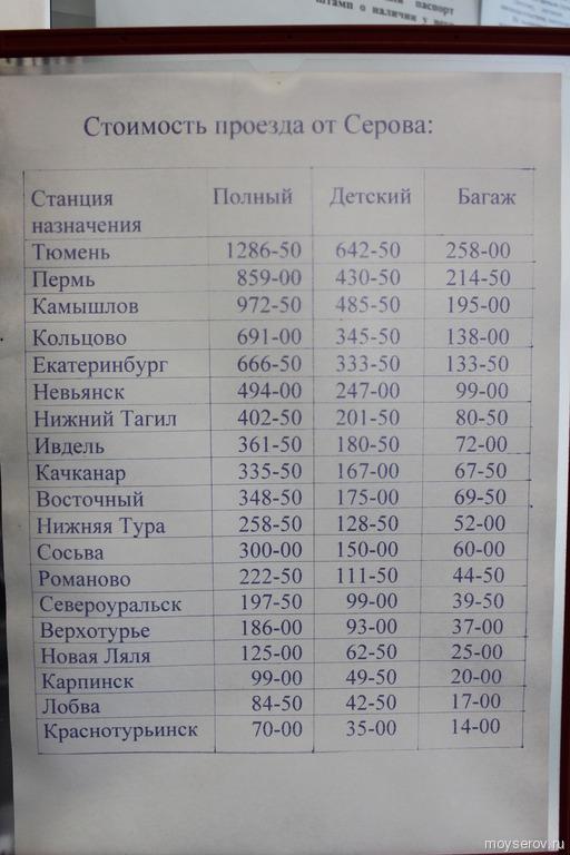 Стоимость проезда через автовокзала города Серова (май 0013 года)